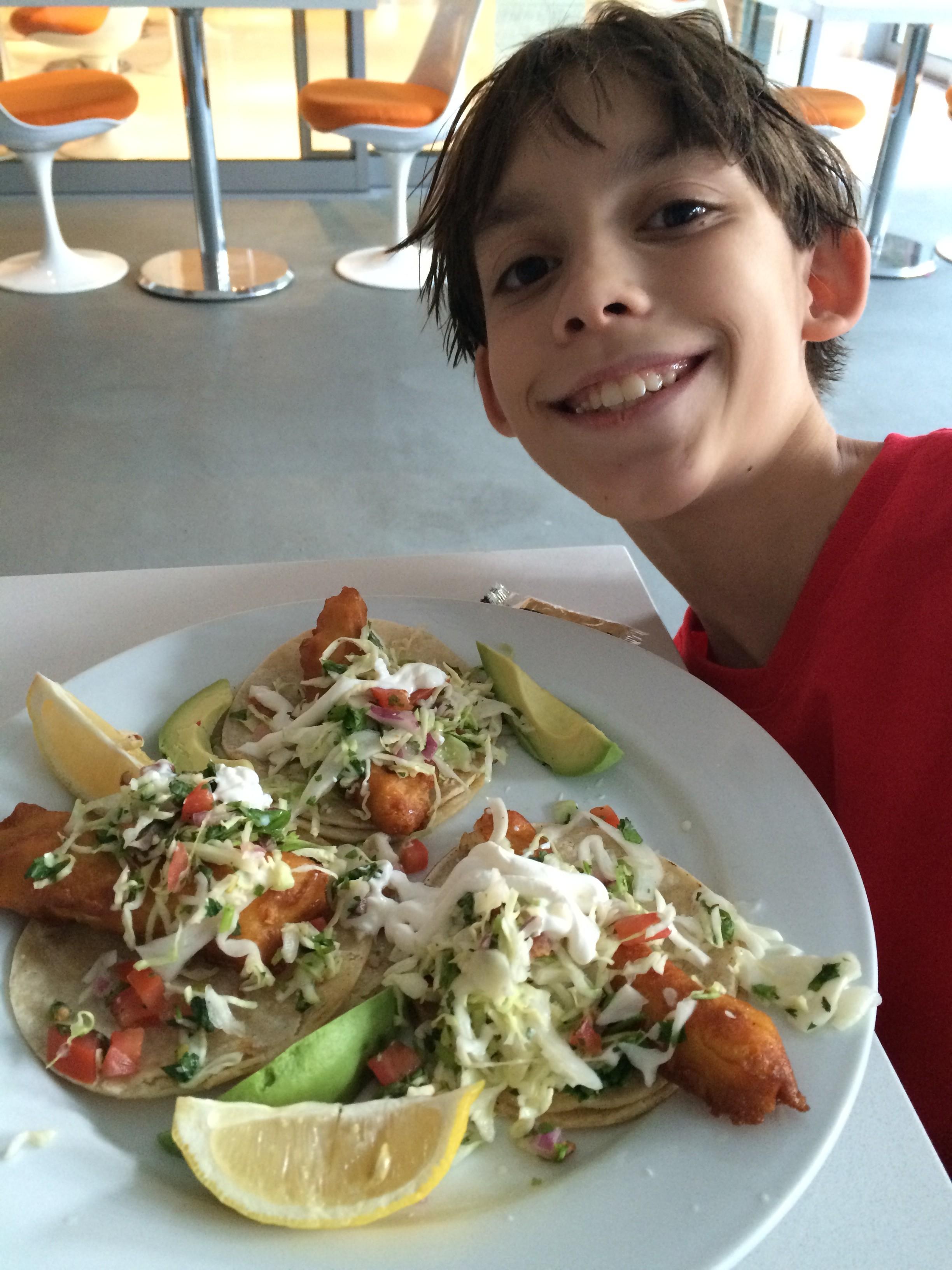 Fish tacos poolside.